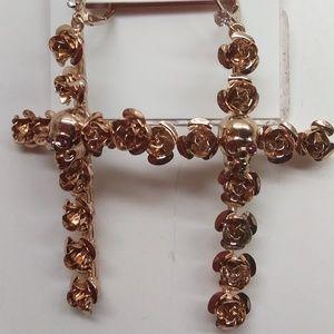 Betsey Johnson New Rose Gold Skull Cross